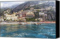 Watchtower Canvas Prints - Positano Seaside View Canvas Print by George Oze
