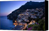 Amalfi Coast Canvas Prints - Positano Twilight Canvas Print by Brian Jannsen