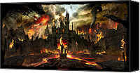 Disneyland Canvas Prints - Post Apocalyptic Disneyland Canvas Print by Alex Ruiz