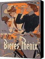 Biking Canvas Prints - Poster advertising Phenix beer Canvas Print by Adolf Hohenstein