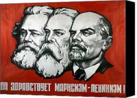 Theorist Canvas Prints - Poster depicting Karl Marx Friedrich Engels and Lenin Canvas Print by Unknown