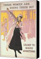 Factories Canvas Prints - Poster depicting women making munitions  Canvas Print by English School