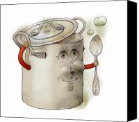 Kitchen Drawings Canvas Prints - Pot Canvas Print by Kestutis Kasparavicius