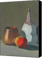 Still Life Canvas Prints - Pottery and Apple - Poster Study Canvas Print by Elizabeth B Tucker 