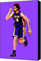 Los Angeles Lakers Canvas Prints - Pow Canvas Print by Jack Perkins