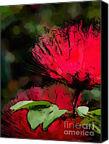 Miniature Effect Canvas Prints - Powder puff in Red Canvas Print by Betty LaRue