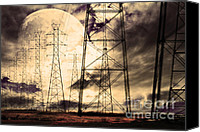 Power Lines Canvas Prints - Power Grid Canvas Print by Wingsdomain Art and Photography