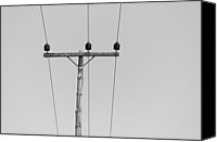 Wooden Post Canvas Prints - Power Line Pole Canvas Print by Daniel Kulinski