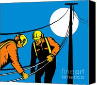 Retro Style Canvas Prints - Power Lineman Telephone Repairman Electrician Canvas Print by Aloysius Patrimonio