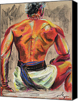 Bronze Drawings Canvas Prints - Powerful Back of a Unique Man Canvas Print by Asha Carolyn Young