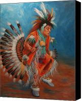 Pow Wow Canvas Prints - PowWow Dancer Canvas Print by Theresa Paden