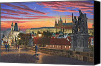 Charles Bridge Canvas Prints - Prague at Dusk Canvas Print by Richard Harpum