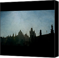 Charles Bridge Canvas Prints - Prague Backlit Skyline With Charles Bridge Canvas Print by Alexandre Fundone