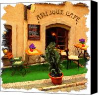 Czech Republic Digital Art Canvas Prints - prague Cafe Canvas Print by Martin  Fry