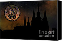 Prague Digital Art Canvas Prints - Prague casle - Cathedral of St Vitus - monuments of mysterious c Canvas Print by Michal Boubin
