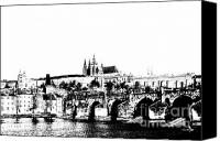 Prague Digital Art Canvas Prints - Prague castle and Charles bridge Canvas Print by Michal Boubin