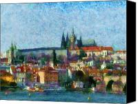 Prague Digital Art Canvas Prints - Prague Castle Canvas Print by Peter Kupcik
