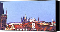 Czech Republic Digital Art Canvas Prints - Prague Castle Canvas Print by Steve Huang