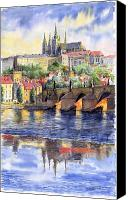 Watercolor Canvas Prints - Prague Castle with the Vltava River 1 Canvas Print by Yuriy  Shevchuk