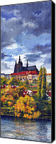 Prague Castle Canvas Prints - Prague Castle with the Vltava River Canvas Print by Yuriy  Shevchuk