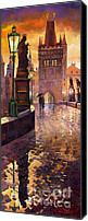 Oil On Canvas Canvas Prints - Prague Charles Bridge 01 Canvas Print by Yuriy  Shevchuk