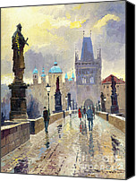 Charles Bridge Canvas Prints - Prague Charles Bridge 02 Canvas Print by Yuriy  Shevchuk