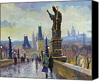 Charles Bridge Canvas Prints - Prague Charles Bridge 04 Canvas Print by Yuriy  Shevchuk