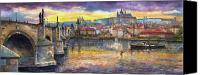Oil On Canvas Canvas Prints - Prague Charles Bridge and Prague Castle with the Vltava River 1 Canvas Print by Yuriy  Shevchuk