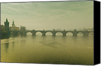 Charles Bridge Canvas Prints - Prague Charles Bridge And Vltava Canvas Print by Gil Guelfucci