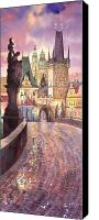 Watercolour Canvas Prints - Prague Charles Bridge Night Light 1 Canvas Print by Yuriy  Shevchuk