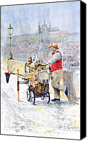 Charles Bridge Canvas Prints - Prague Charles Bridge Organ Grinder-Seller Happiness  Canvas Print by Yuriy  Shevchuk