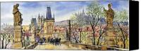 Spring Painting Canvas Prints - Prague Charles Bridge Spring Canvas Print by Yuriy  Shevchuk