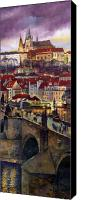 Oil Canvas Prints - Prague Charles Bridge with the Prague Castle Canvas Print by Yuriy  Shevchuk