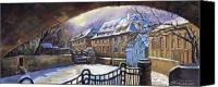 Old Pastels Canvas Prints - Prague Chertovka Winter 01 Canvas Print by Yuriy  Shevchuk