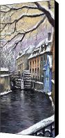 Old Pastels Canvas Prints - Prague Chertovka Winter Canvas Print by Yuriy  Shevchuk