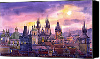 Old Prague Canvas Prints - Prague City of Hundres Spiers variant Canvas Print by Yuriy  Shevchuk