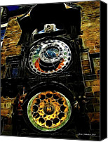 Prague Digital Art Canvas Prints - Prague Clock Canvas Print by Joan  Minchak