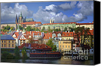 Prague Castle Canvas Prints - Prague Dreams Canvas Print by Joan Carroll