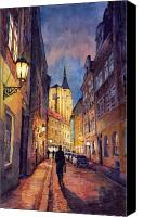 Buildings Canvas Prints - Prague Husova Street Canvas Print by Yuriy  Shevchuk