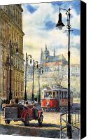 Red Painting Canvas Prints - Prague Kaprova Street Canvas Print by Yuriy  Shevchuk
