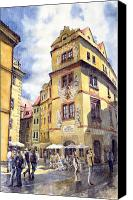 Old Prague Canvas Prints - Prague Karlova Street Hotel U Zlate Studny Canvas Print by Yuriy  Shevchuk