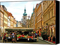 Prague Digital Art Canvas Prints - Prague Market Canvas Print by Randy Matthews
