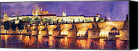 Charles Bridge Canvas Prints - Prague Night Panorama Charles Bridge  Canvas Print by Yuriy  Shevchuk