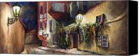 Old Pastels Canvas Prints - Prague Novy Svet Kapucinska str Canvas Print by Yuriy  Shevchuk