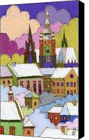 Pastel Canvas Prints - Prague Old Roofs Prague Castle Winter Canvas Print by Yuriy  Shevchuk