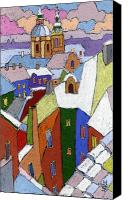 Pastel Landscape Canvas Prints - Prague Old Roofs Winter Canvas Print by Yuriy  Shevchuk