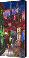 Street Canvas Prints - Prague Old Street 01 Canvas Print by Yuriy  Shevchuk