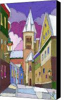 Old Pastels Canvas Prints - Prague Old Street Jilska Winter Canvas Print by Yuriy  Shevchuk