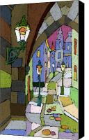 Pastel Canvas Prints - Prague Old Street Mostecka Canvas Print by Yuriy  Shevchuk