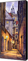 Watercolor Canvas Prints - Prague Old Street  Canvas Print by Yuriy  Shevchuk